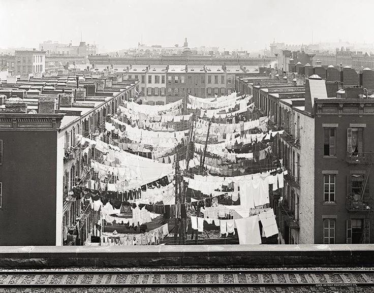Tenement Houses, New York, c1900, Vintage Photo..big wind could mix up the laundry lines..ewww