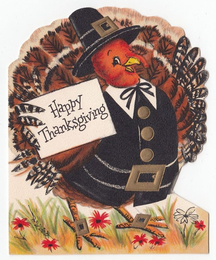Vintage Greeting Card Happy Thanksgiving Die-Cut Turkey Hallmark 1950s
