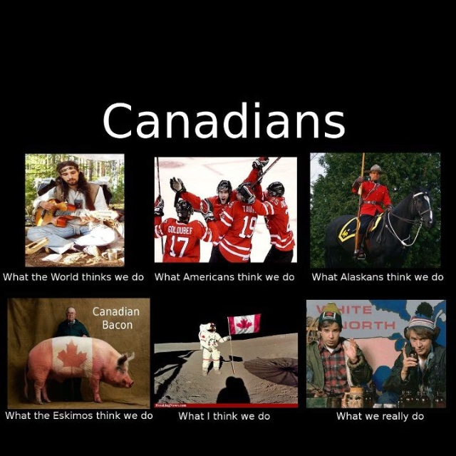 lol canadian stereotypes at its best lol. Minus the maple syrup and a beaver or two lols. Some people actually think we live in igloos up here