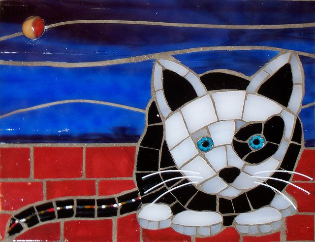 : Kitty Cat, Cat Mosaics, Christine Brallier, Art Photography, Mosaics Cat, Black Cat, Baby Cat, Stained Glasses, White Cat