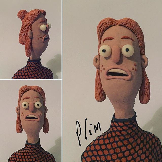 Been experimenting with some fabric combination with the clay and the expression of the model's face ---------------------------------------------------- #stopmotion #stopmotionanimation  #plasticine #newplast #clay #claymation #puppet #animation #art #handmade #puppetanimation #character #sculpt #closeup #polymerclay #photography #plastilina #plasticinemodels #sculpture #chrisplimmer #hobbycraft #model #modelmaking #girl #redhead #ginger