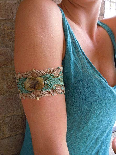 Beautiful Macrame Bracelet with salt stone and turquise beads. $60.00, via Etsy.