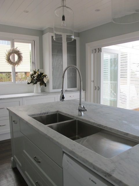 GEORGICA POND INTERIORS - our white marble kitchen