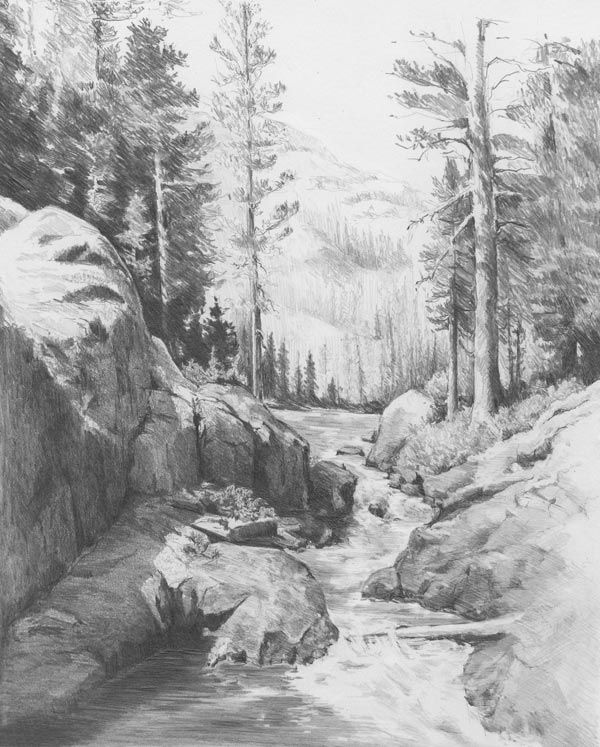 Landscape drawings in pencil strong pencil strokes and negative drawing carries this drawing to