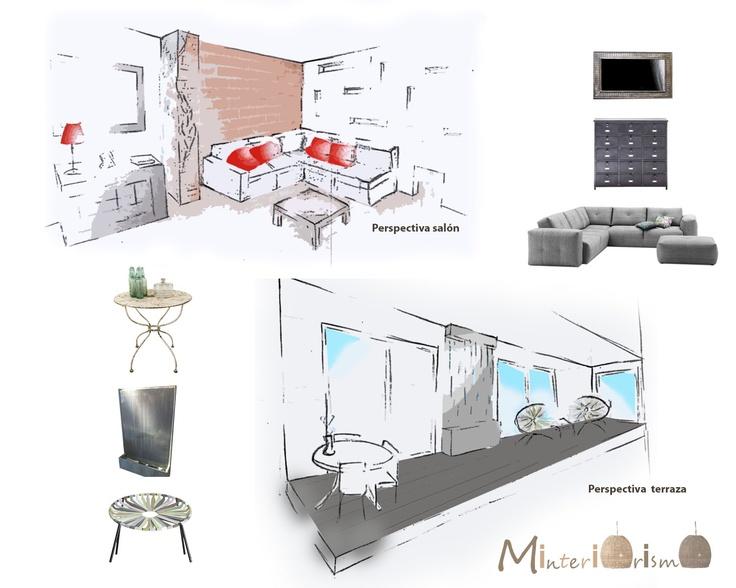 """Perspectiva salón y terraza en """"Proyecto reforma vivienda ... La elegancia es cuestión de esqueleto"""""""