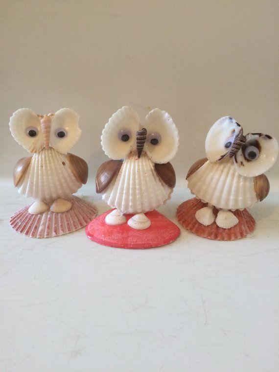 Sea shell Owl figurines by EnchantedSeaKingdom on Etsy