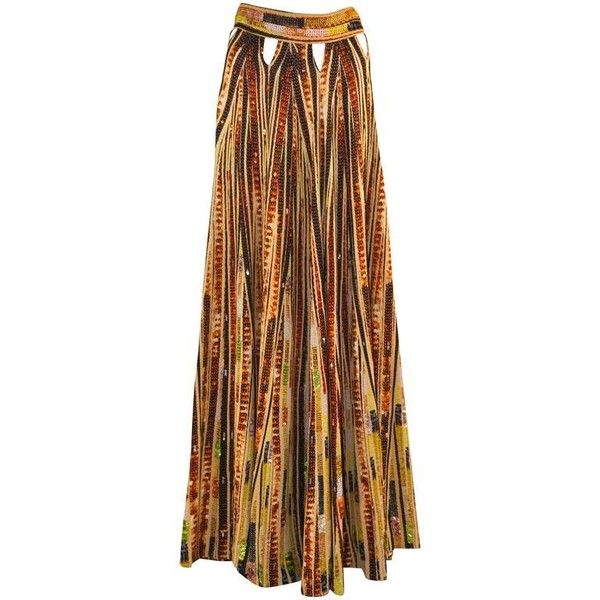 Preowned Givenchy Sequin Embellished Cutout Printed Jersey Maxi Skirt... (£830) ❤ liked on Polyvore featuring skirts, multiple, tribal print maxi skirt, maxi skirt, tribal maxi skirt, tribal skirt and tribal sequin skirt