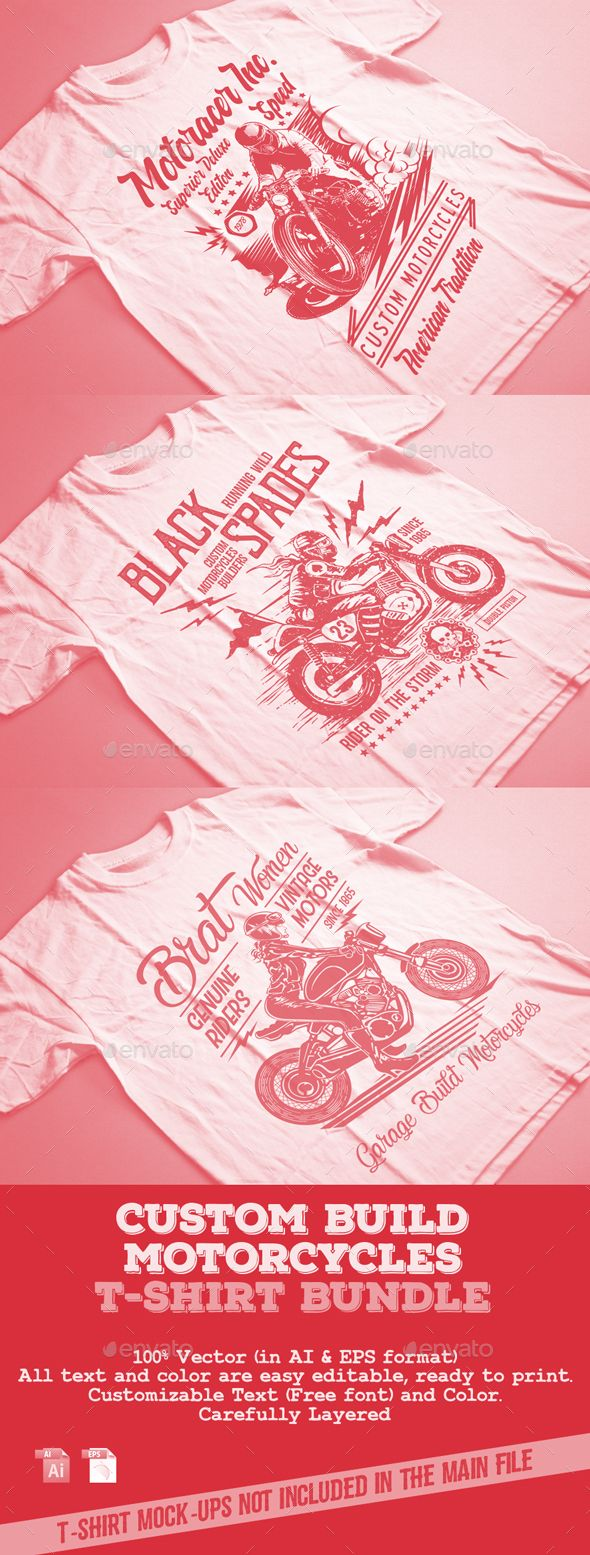 Custom Build Motorcycles T-Shirt Bundle