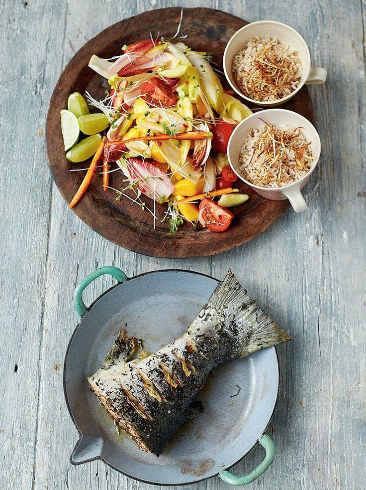 Green tea roasted salmon and salad