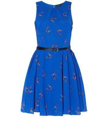 Blue Bird Print Belted Skater Dress