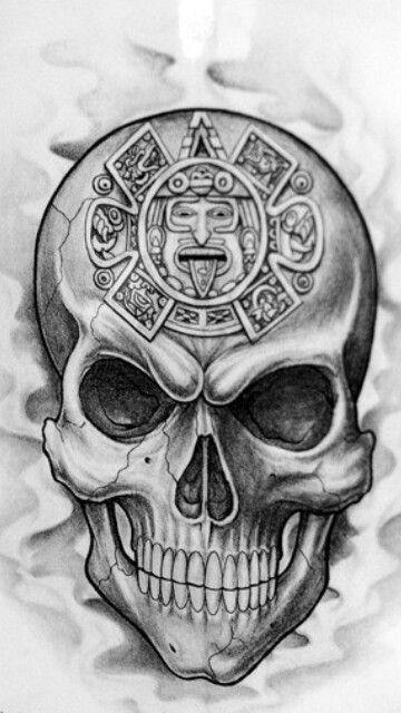 Skull with Aztec Calendar Skulls