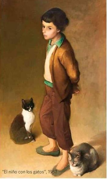 El nino con los gatos (1957) by Claudio Bravo (1936-2011), Chile. Boy with Cats.