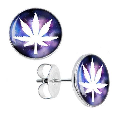 Boucles d'oreilles feuille cannabis cosmos