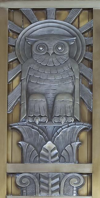 Spectacular Art Deco Owl | Content in a Cottage: Adam Building, Art Nouveau, Sun Ray, Owl Art, John Adam, Reading Rooms, Owl Doors, Artdeco, Art Deco