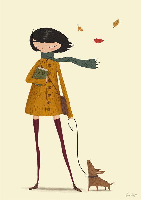 Kunstdruck Mädchen Herbst Herbst Abbildung Hund v…
