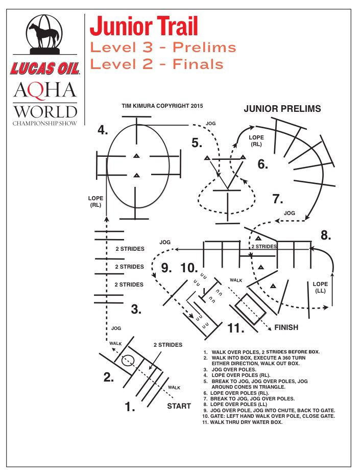 Junior trail prelims pattern from the 2015 Lucas Oil AQHA World Championship Show