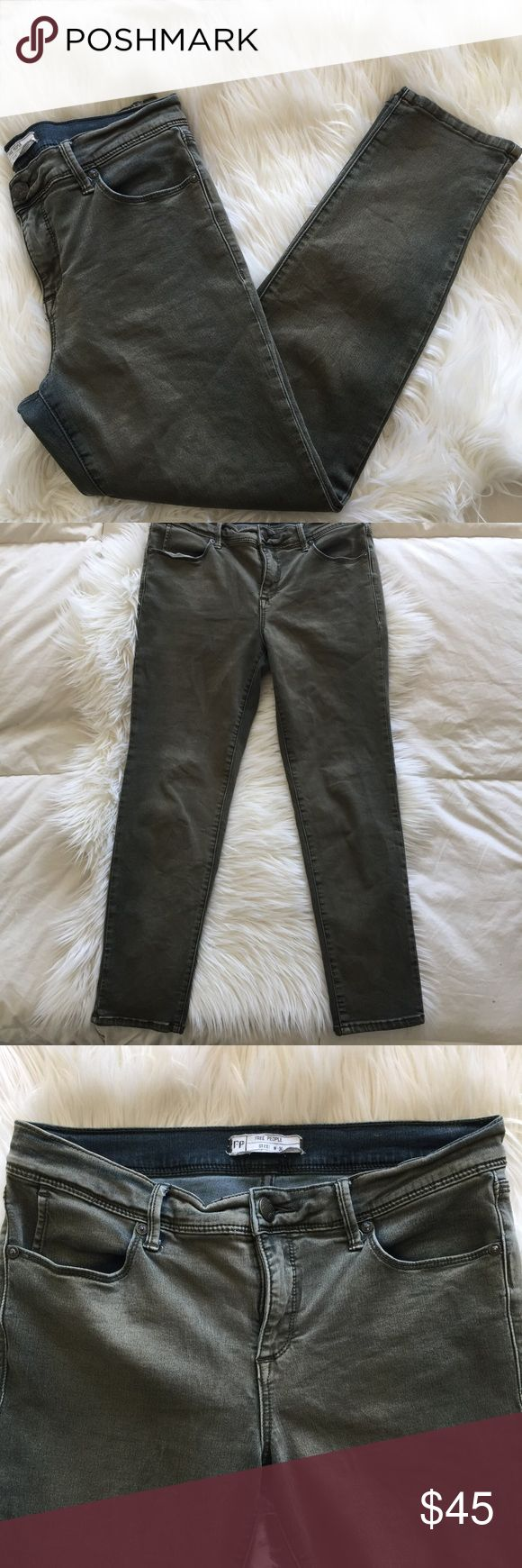 "Free People Dark Green Ankle Skinny Jeans Free People Dark Green Ankle Skinny Jeans Approximate inseam: 26"" Approximate Rise: 9"" 53% Cotton 23% Rayon 22% Polyester  2% Spandex Free People Jeans"