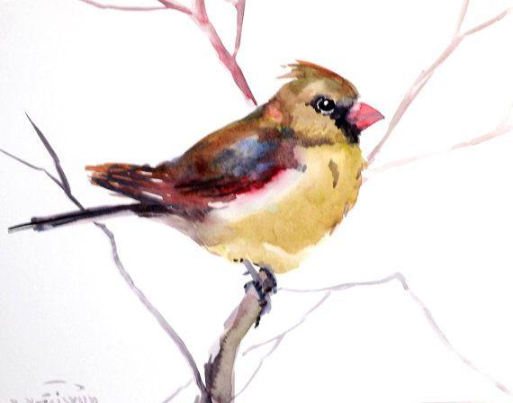 Female cardinal bird, original watercolor painting, 8 X 10 in, cardinal birds art bird lover
