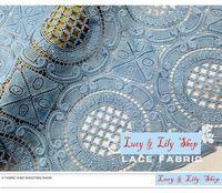 Европа стиль растворимый в воде синий вышивка полые кружевная ткань винтажный кружевная ткань для блузка