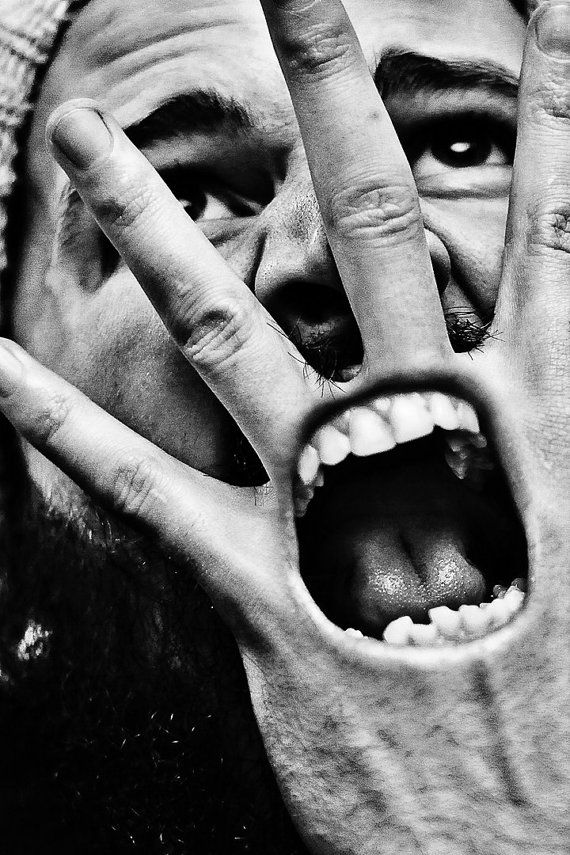 Can You Hear Me Yet 8x12 Self Portrait Fine Art Photography Wall Art Home Decor Hand Screaming Teeth Face Black and White Abstract