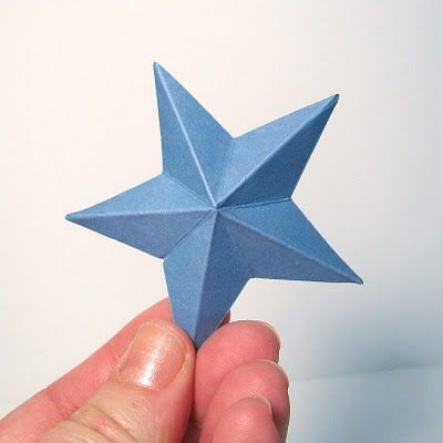 "1. Start by die-cutting or punching out you star shape.  2. Next score the star down the center, from one tip to the ""V"" between two tips  3. Continue scoring the entire star this way.  4. Pinch the star on the score lines to form peaks and valleys.  5. Ta da! You now have a 3-dimensional star!"