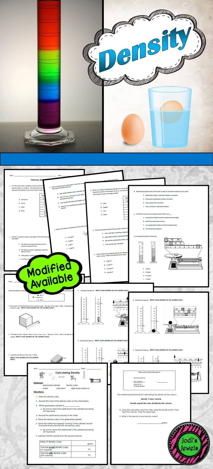 Calculating Density Co Teaching Middle School Science Teacher Matter Science