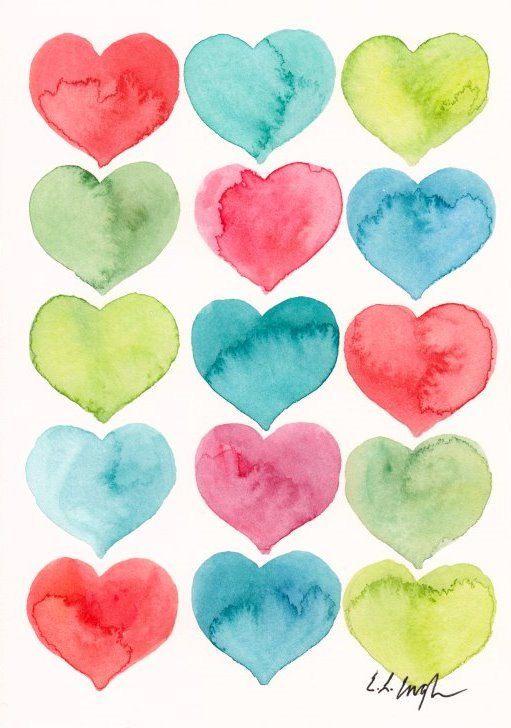 Aquarel harten, origineel schilderij, 5 x 7, groen, koraal, roze, blauw, mint, blauwgroen, liefde, valentines kunst