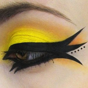 Yellow and black eye make-up