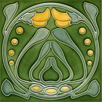 Jugendstil Bad Keranik Fliese Dekor grün gelb