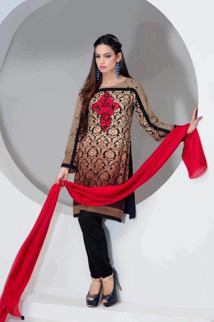 Black and red printed line salwar kameez suit