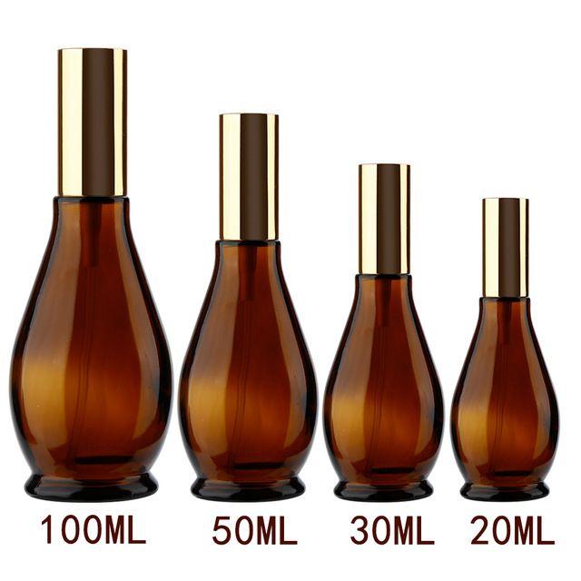 4 مقاسات القرع شكل حاوية فارغة العنبر الزجاج زجاجة عطر البخاخة التجميل بخاخ السفر المحمولة Refillable Perfume Bottle Cosmetic Containers Refillable Perfume