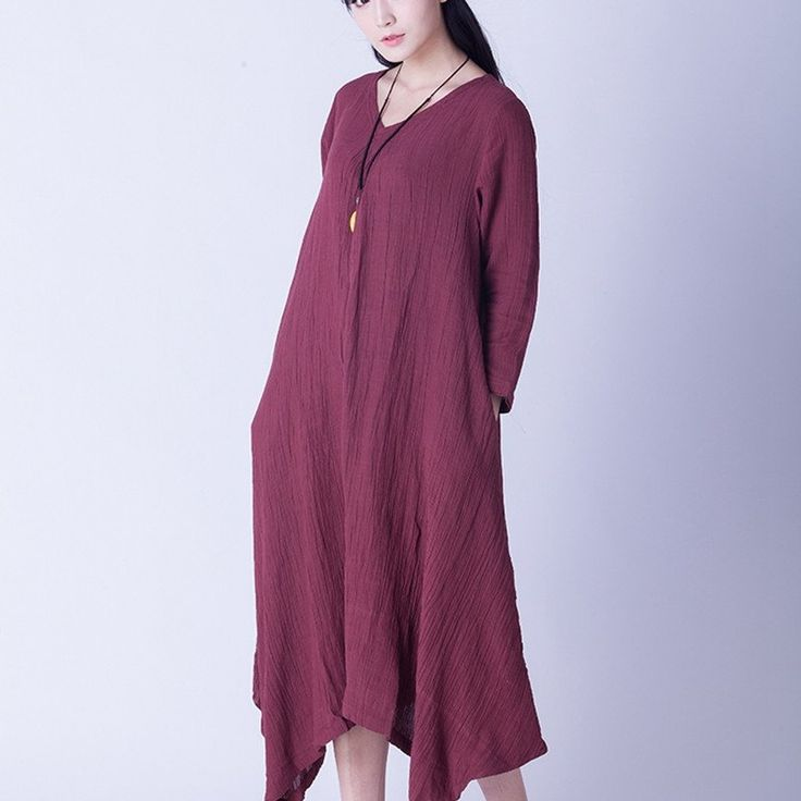 Irregular Sweep Linen Casual Loose Long Dresses Women Clothes Q2602A