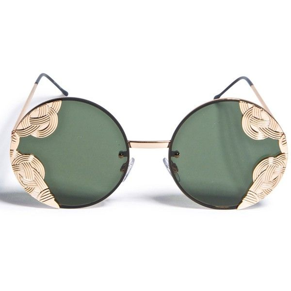 Spitfire Gold British Riviera Sunglasses ($32) ❤ liked on Polyvore featuring accessories, eyewear, sunglasses, glasses, dark lens sunglasses, spitfire sunglasses, lightweight sunglasses, spitfire glasses and gold glasses