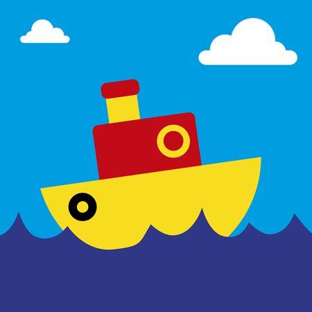 Cute boat card on blue