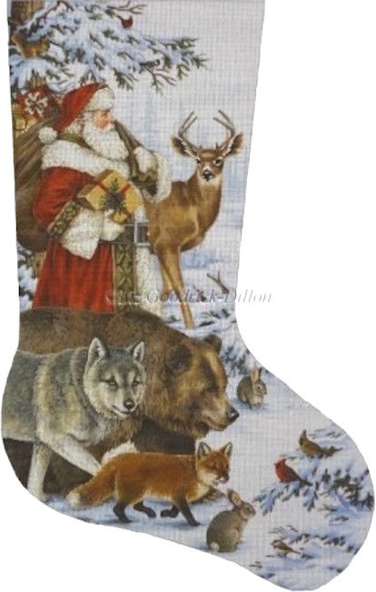 Woodland Christmas (LGDAXS473) is a Christmas needlepoint stocking canvas from Susan Roberts Needlepoint available at the Needle Nook of La Jolla.