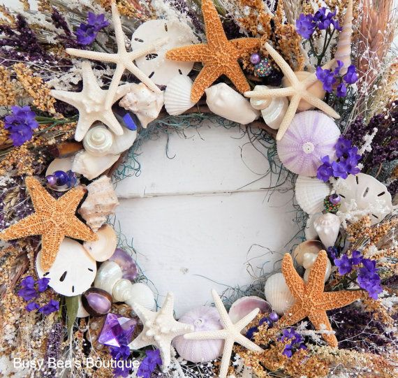 Gorgeous Primitive Seashell & Starfish Wreath by BusyBeasBoutique