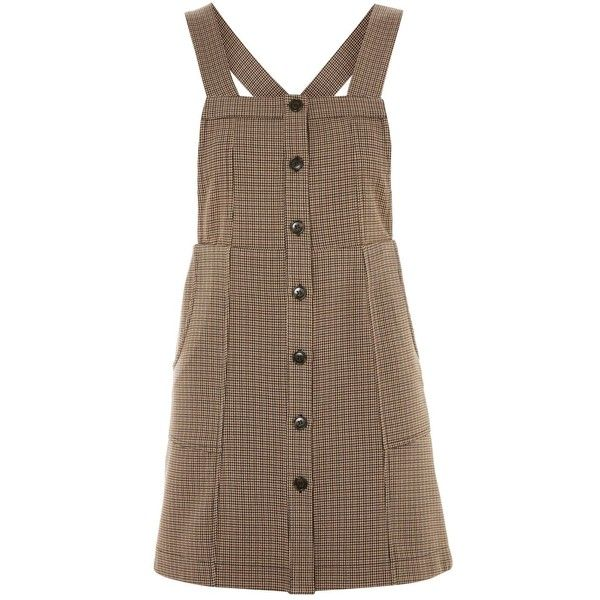 TopShop Petite Check Pinafore Dress ($60) ❤ liked on Polyvore featuring dresses, skirts, topshop, brown, petite dresses, topshop dresses, checkered dress, brown dresses and pinny dress