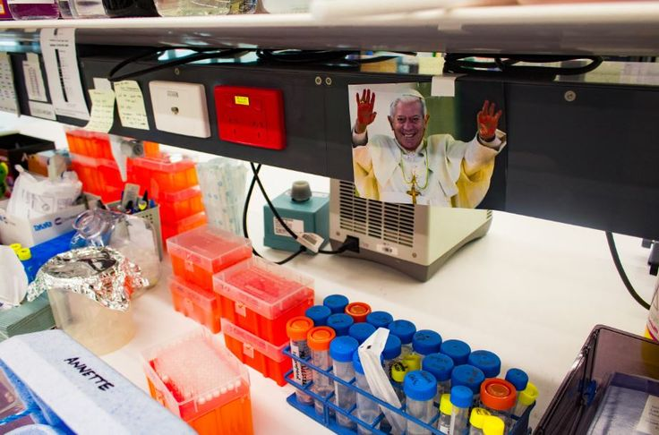 Capturing the odd and unusual in the labs was what I was looking for in this PeterMac project. This scene was another one of those unusual moments. It's the Pope but it's the big boss of that particular lab photoshopped onto the Pope. I asked the person that was operating that work station why was that image there and she said that it adds fun and humour when working!