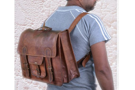 16Leather backpack Leather bag Handmade Office by leatherbagshop, $75.00