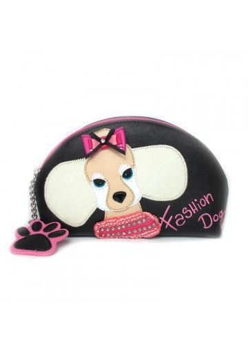 Questa borsetta trucco della Braccialini è ideale per tutte le donne amano gli accessori con classe. Disponibile in nero, con inserti carini colorati a forma di cane. Finalmente tutto trucco è sistemato!