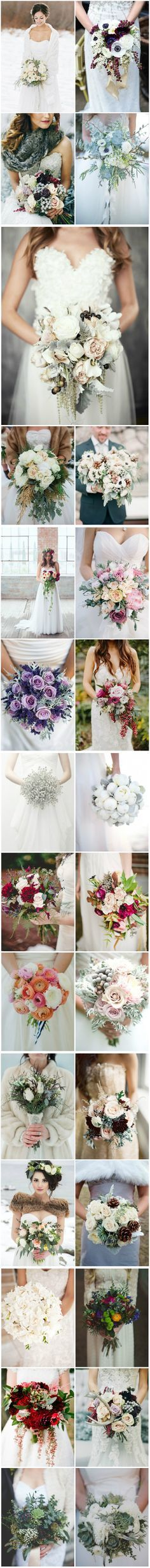 Lovely shades of all kinds of flowers for your winter bouquet www.thebridalbox.co.uk