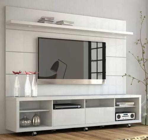 rack c/ painel horizon 2.2 p/tv - branco gloss com brilho