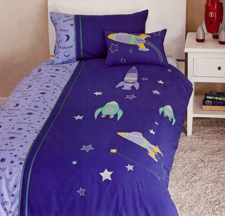 Spaceships Quilt Cover Set available in single and double bed sizes from Kids Bedding Dreams. Ideal for a boy's bedroom or anyone that loves space, rockets and astronomy.