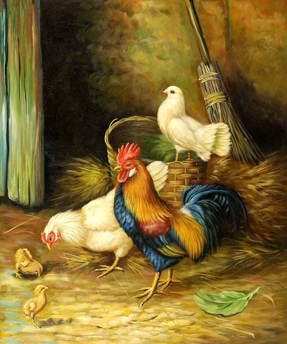 Rooster, Hen and Chicks