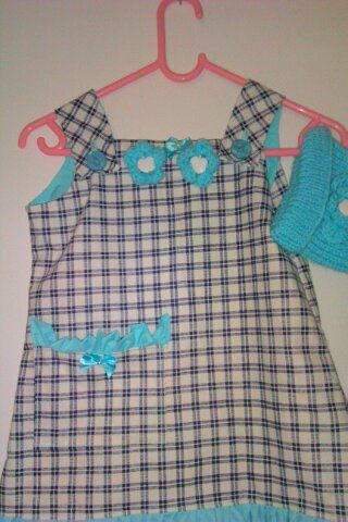 check pinafore with beanie