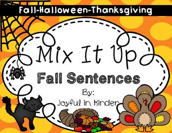 These fall sentence scrambles are great for beginning sentence structure, sight word recognition, and writing!There are 6 fall sentences, 6 Halloween sentences, and 6 Thanksgiving sentences for a total of 18 sentence scramble to use through fall! Included:6 fall sentence scramble word cards in color to print and laminate6 black/white small sentence scrambles to cut and paste in order4 recording sheets to write the fall sentences6 Halloween sentence scramble word cards in color to print and…