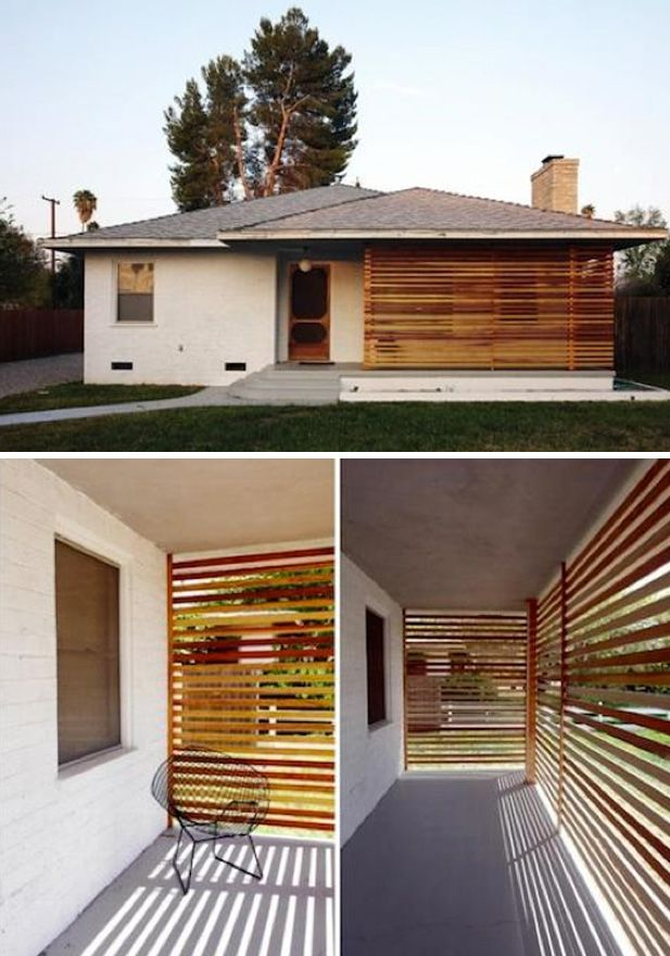 Add privacy and interest to a small home  diy slatted wood screen // http://www.the-brick-house.com/2010/04/slat-screen-2/