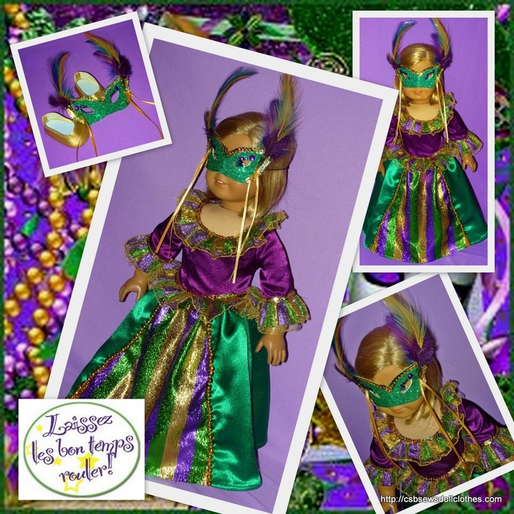 A sparkling Mardi Gras costume for American Girl Dolls , with mask and shoes, in the traditional Mardi Gras colors of purple, gold and green.