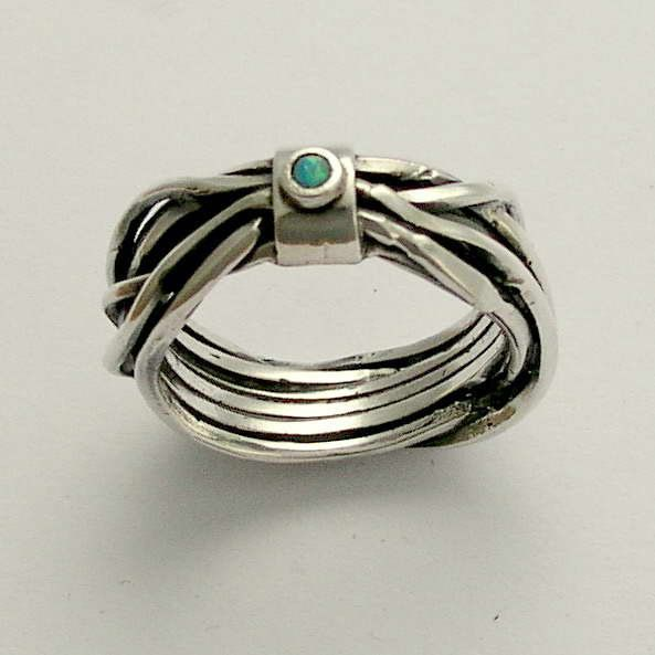 Sterling silver gemstone ring with blue opal Your by artisanlook, $88.00