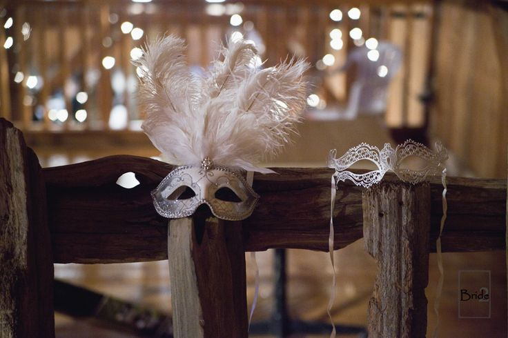 "The brides masquerade masks from their Halloween Masquerade wedding in Toronto Ontario at the Gambrel Barn. Who wouldn't want to play ""dress up"" on their wedding day?"